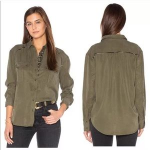 FREE PEOPLE Off Campus Buttondown Olive Green Sz M